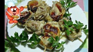 Шашлык на шпажках  из курицы на сковороде-простой рецепт