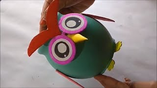 How to make piggy bank at home / DIY Owl shape piggy bank Very easy way to make beautiful piggy bank