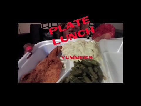 PLATE LUNCH| FISH | POTATOE SALAD| GREENBEANS || MUKBANG | EATING SHOW
