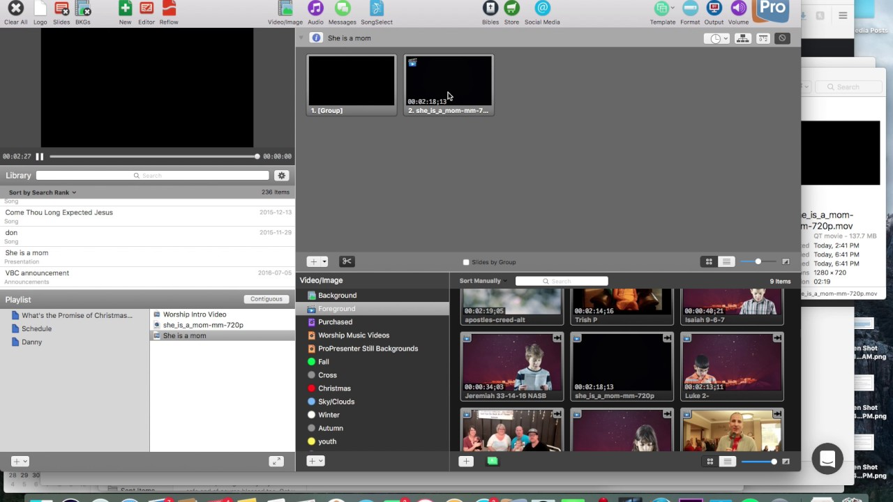 Add a Video to ProPresenter Igniter media and CMG create