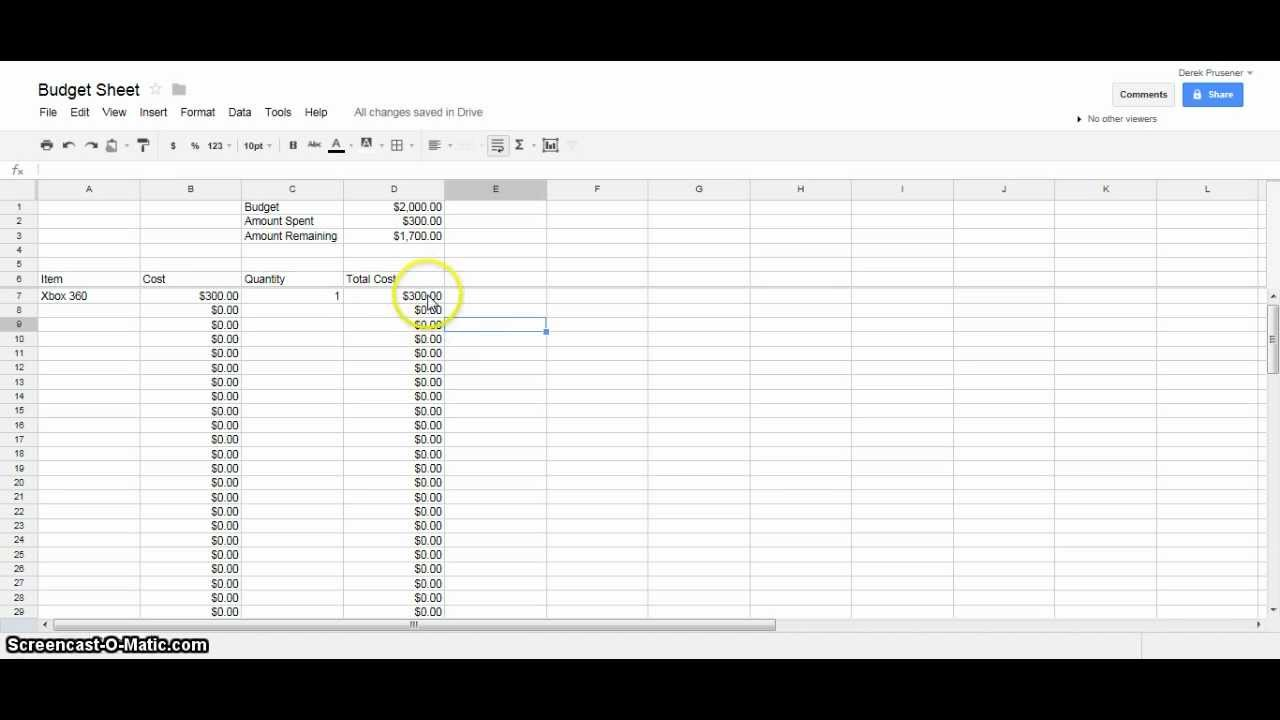 google docs tutorial budget spreadsheet youtube. Black Bedroom Furniture Sets. Home Design Ideas