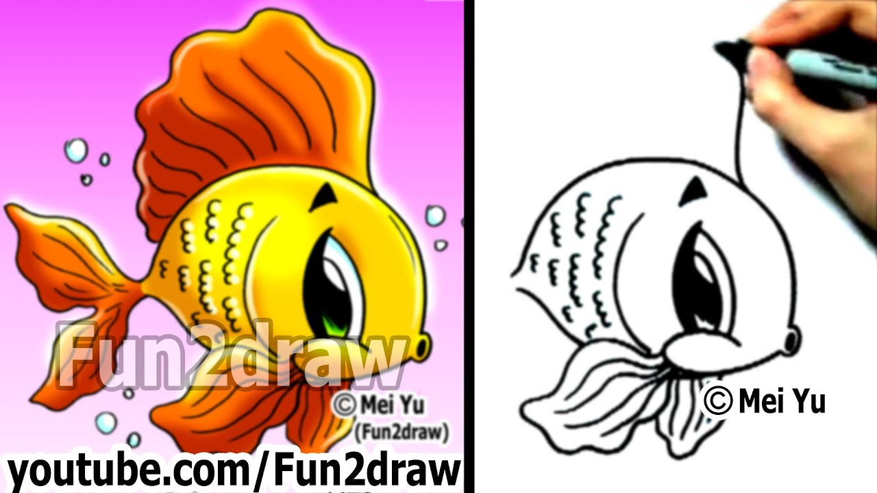 How to Draw Cartoons  How to Draw a Cartoon Goldfish in 2 min