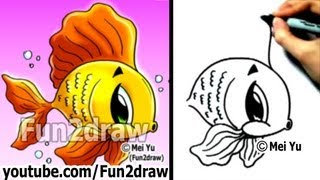 How to Draw Cartoons - How to Draw a Cartoon Goldfish in 2 min - Learn to Draw - Fun2draw