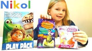 Николь открывает пакеты с сюрпризами Хороший Динозавр, Шрек и Винкс !