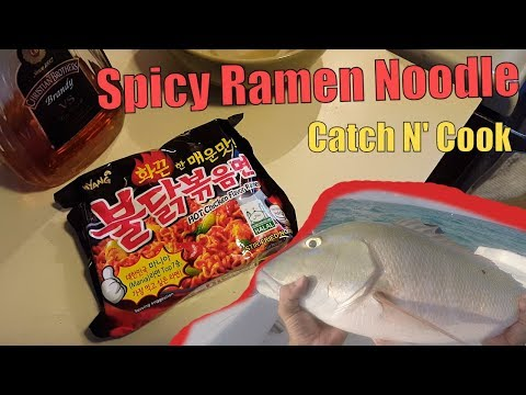 Spicy Ramen Noodle Challenge with Fish | Catch N Cook