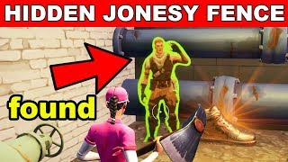 Find Jonesy HIDDEN BEHIND A FENCE - (Downtown Drop Challenge) Fortnite Battle Royale