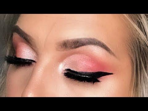 half cut crease  pink eyeshadow tutorial  youtube