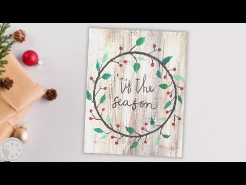 How To Paint a Christmas Wreath on Wood    DIY Rustic Christmas Decor