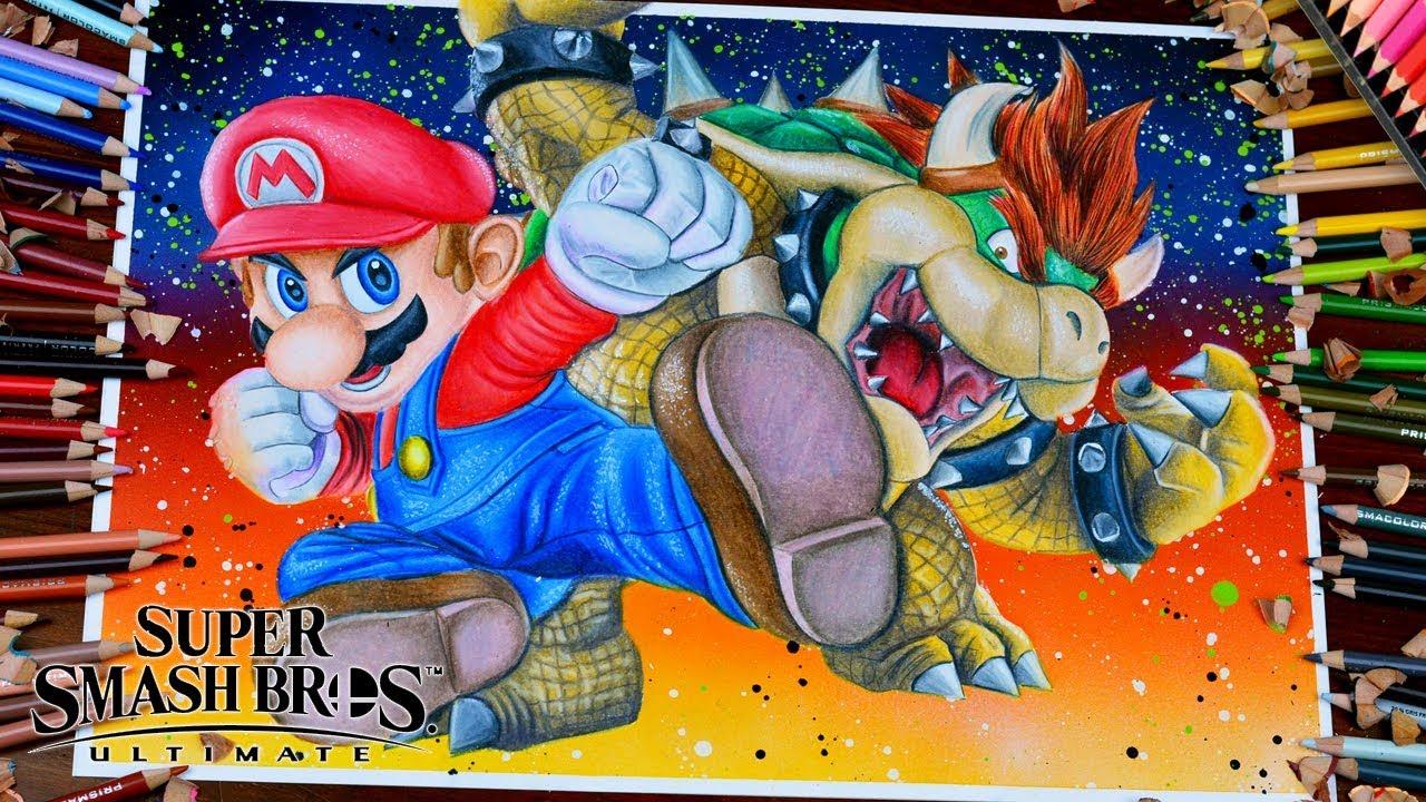 Drawing Mario Vs Bowser Characters Super Smash Bros