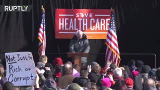 Sanders leads rally of thousands against Republican health policy