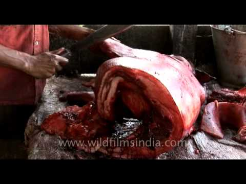 Pork Sliced By A Butcher In India