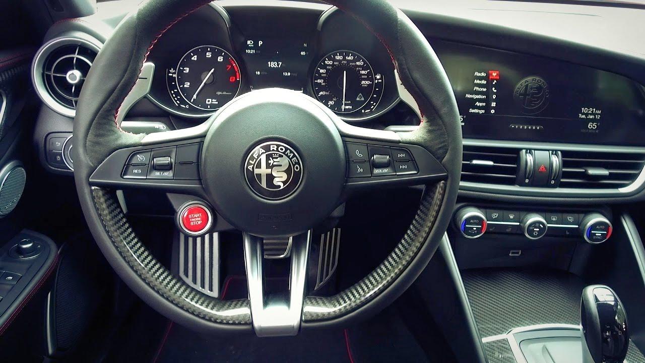 2017 Alfa Romero Giulia Quadrifoglio Interior And Drive Youtube