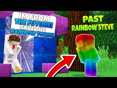 Minecraft Steve Saga - GOING BACK IN TIME TO WARN RAINBOW STEVE