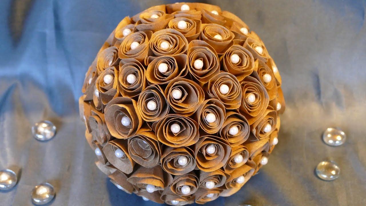 Kugel mit papierbl ten basteln wohndeko basteln tinker - Kugel laterne basteln ...