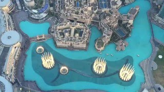 Dubai Water Fountain Show from Burj Khalifa 124th Floor