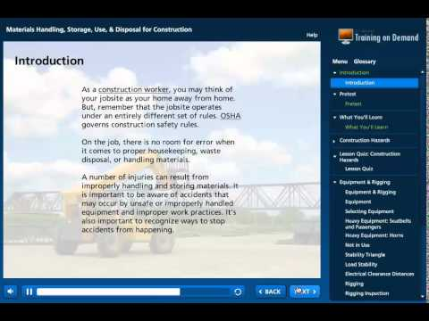 Materials Handling, Storage, Use, and Disposal for Construction Online Course Preview