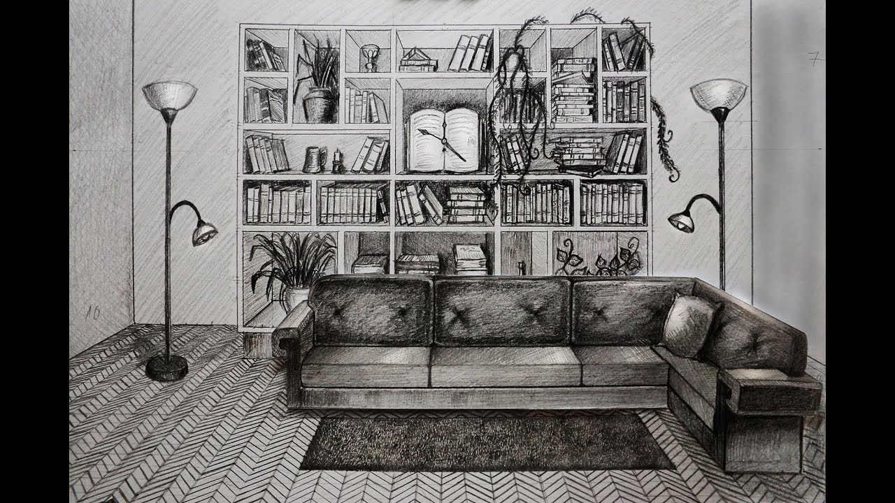 How to draw - living room with sofa and books - one point perspective part2
