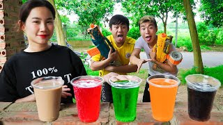 SEAL X Warriors & Beautiful Girl Nerf Guns Dispute Mixed Fruit Juice Battle   Moon Nerf War