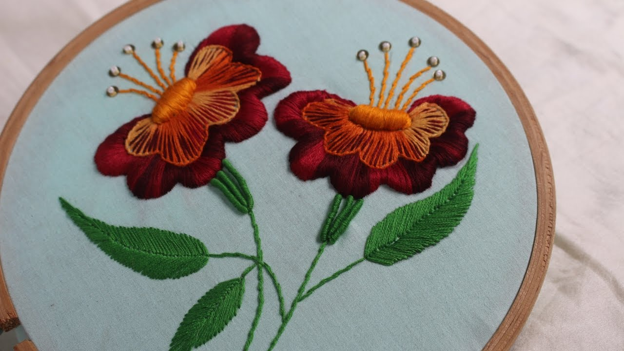Hand Embroidery Designs Jacobean Flower Design Stitch And Flower