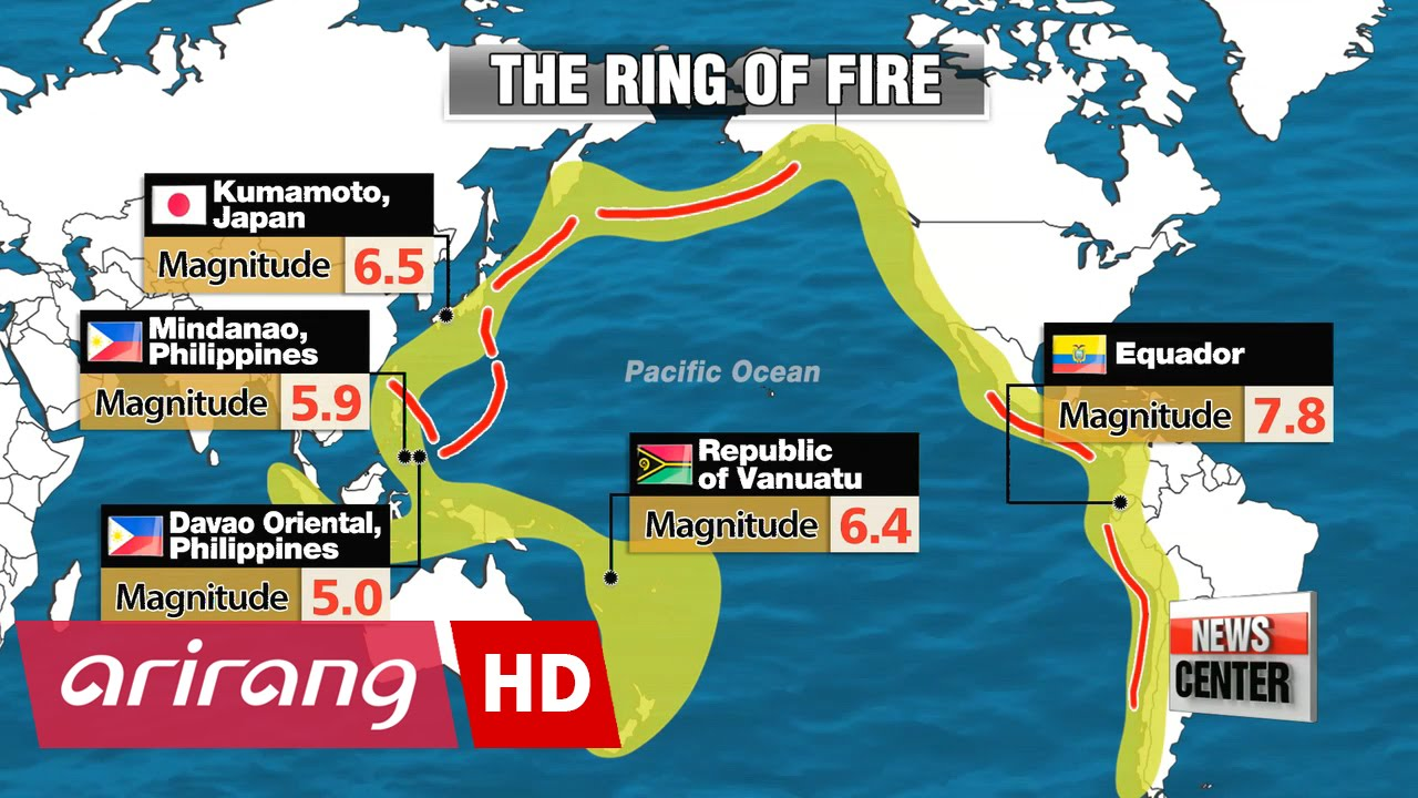 Countries Along The Pacific Ring Of Fire