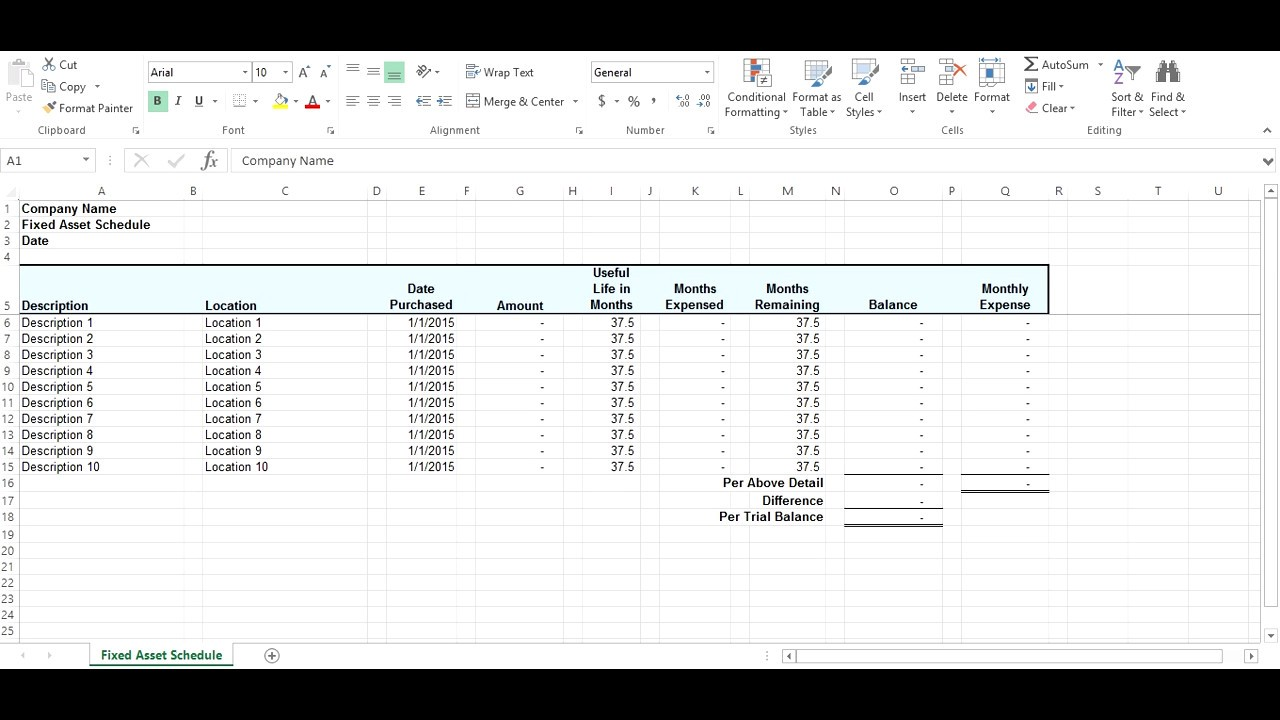 Fixed Asset Schedule Short Tutorial - YouTube