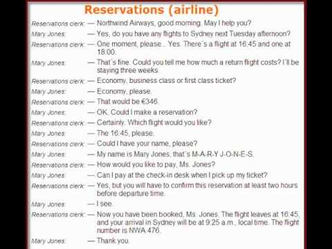 English dialogues no 2 Reservations airline  YouTube