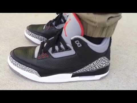 6cb7ab849950 Air Jordan 3 III Retro  Black Cement Grey  on feet
