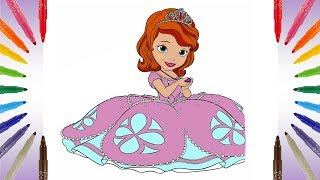 Sofia the First Coloring Page Learn colors with markers Disney Junior Coloring Pages for Kids