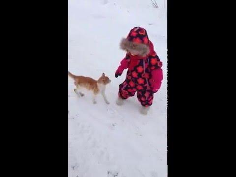 Cat Body Slams A Kid In Winter