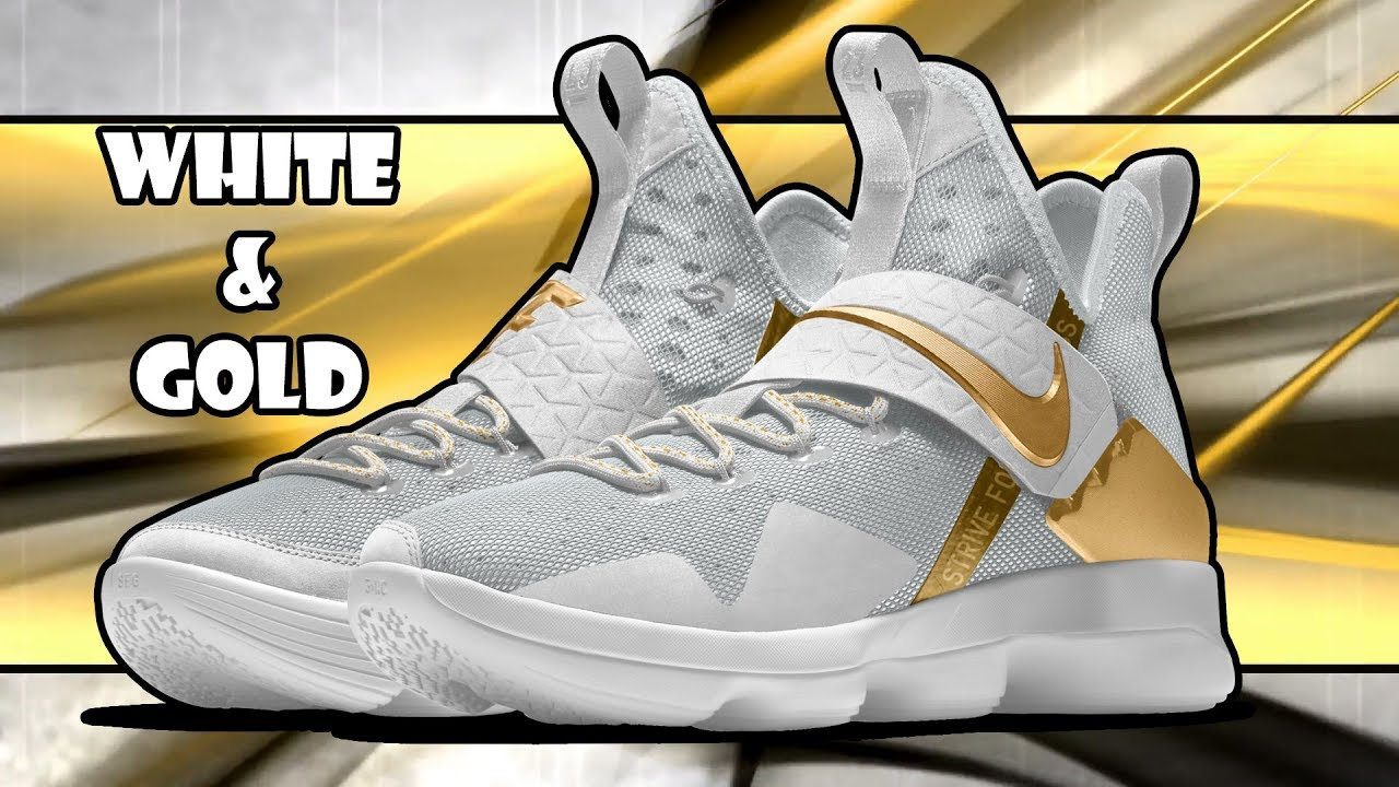 outlet store 17d13 9c976 NIKE LEBRON 15 WHITE AND GOLD COLORWAYS CUSTOM NIKE ID