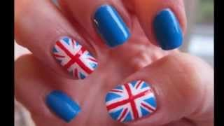 видео ногти с британским флагом фото