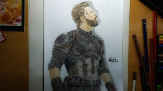 Drawing time lapse: Captain America (nomad)