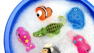 Learn Wild Zoo Animals and Sea Animals For Kids with Water Shark Toys