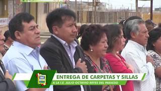 JOSÉ REYES ENTREGA CARPETAS SILLAS Y TOLDOS A I.E N° 20871 DEL SECTOR EL PARAÍSO