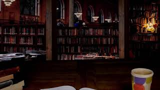 Cozy Library atmosphere - Thunder, lightning, rain and quiet Library sounds [2 hours]
