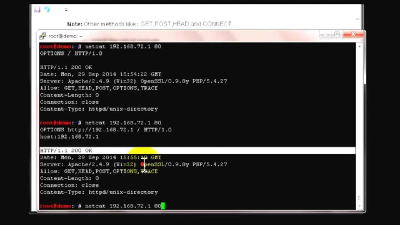 HTTP methods vulnerability check using netcat – Solutions@Experts com
