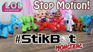L.O.L. Surprise Dolls Find STIKBOT MONSTERS Under Their BED!! STOP MOTION VIDEO + Unboxing