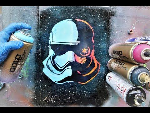 Stormtrooper Star Wars solder GLOW IN DARK - SPRAY PAINT ART - by Skech
