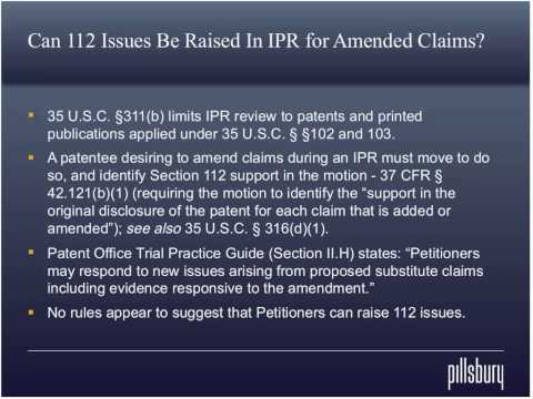 The First Final Written Decision: Can 112 Issues be Raised for Amended Claims?