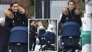 Pippa Middleton looked incredibly as she enjoy a walk with her son Arthur near West London