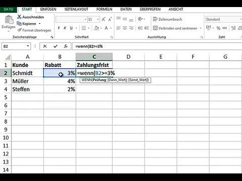 Formel Excel Wenn Dann