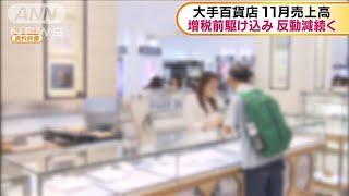 大手百貨店 11月の売上高が増税の反動減続く(19/12/03)