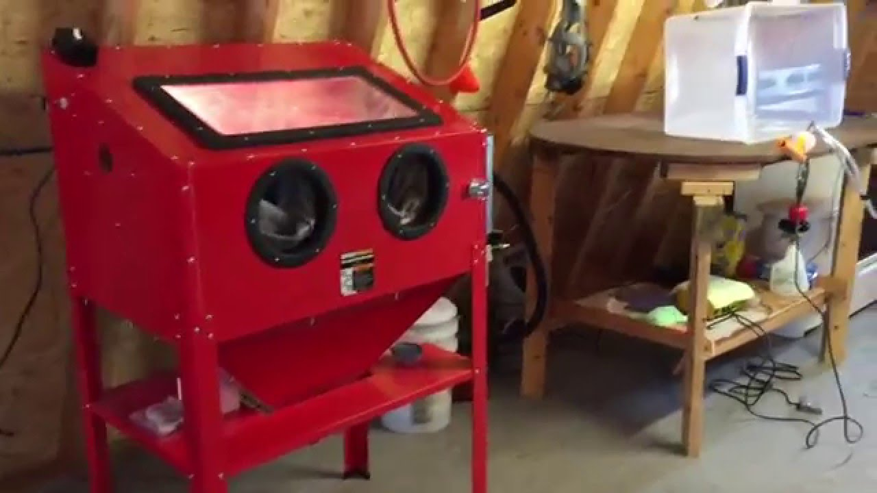 Harbor Freight stand-up sand blast cabinet, Review, & Mods - YouTube