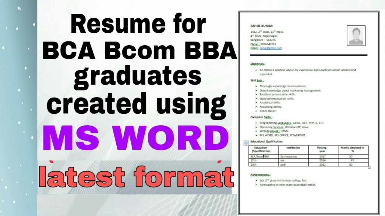 Resume For Bca Bcom Bba Graduates Latest Format Pattern Created