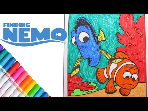 Coloring Finding Nemo Dory And Marlin Speed Coloring Book Page Time Lapse With Markers