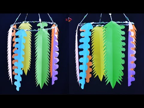WOW !!! Awesome Paper Jhumar Ceiling Hanger   How To Make Paper Leaf Wall Hanging   Paper Crafts
