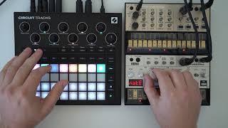 Simple setup jam with the Novation Circuit Tracks, Volca Bass, Volca Keys