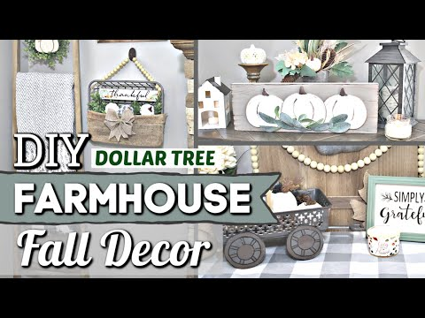 Dollar Tree FARMHOUSE FALL DIYS | Dollar Store Fall Decor Ideas | Krafts by Katelyn