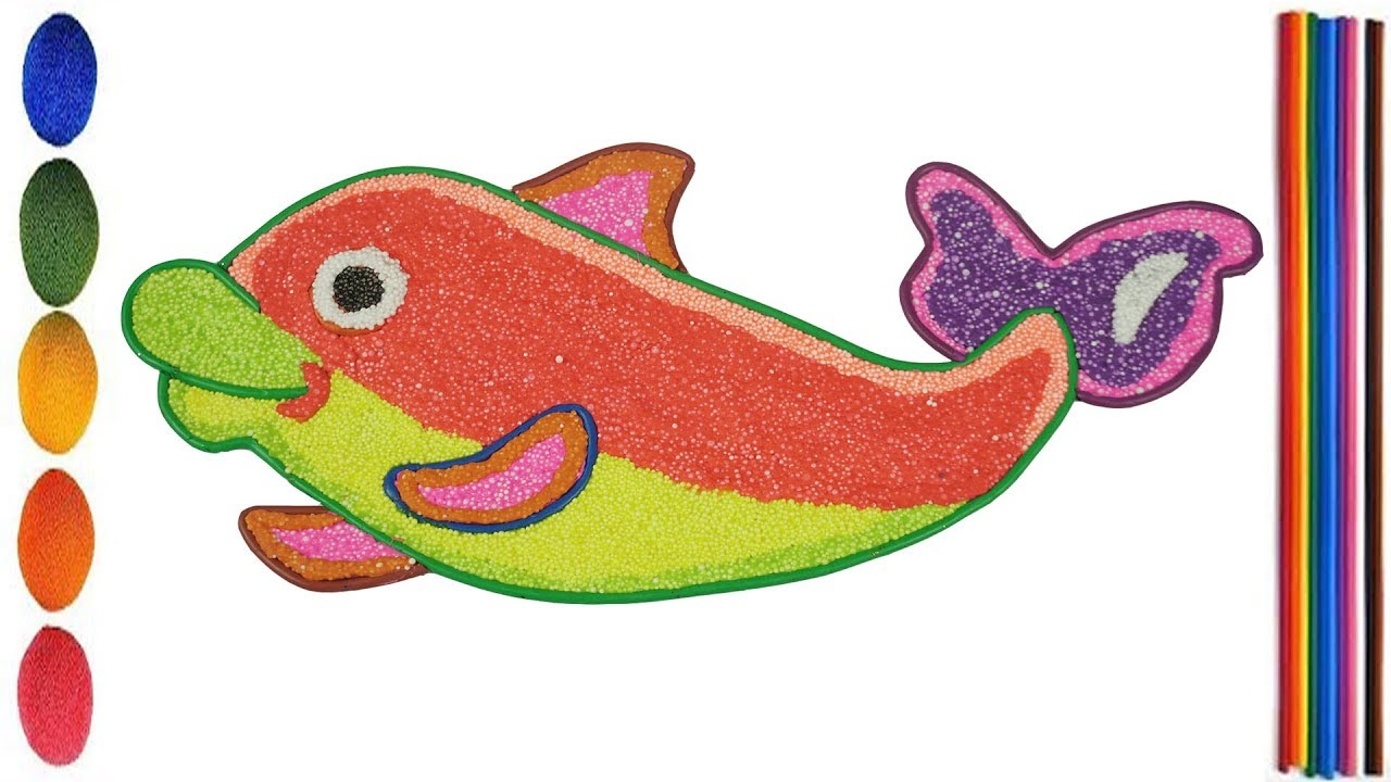 Glitter Dolphin Coloring Pages For Kids With Foam Clay