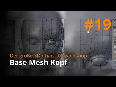 Blender 3D-Charakterworkshop Teil 1 | #19 – Base Mesh Kopf